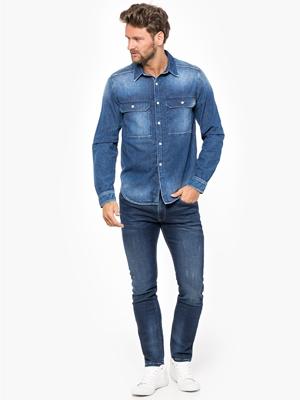 Jeansowy Total Look Koszula Męska Pepe Jeans Bluestilo.com